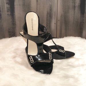 Predictions Black Patent Leather/Canvas Sandals 9